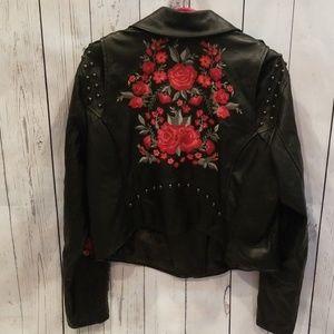 "torrid Jackets & Coats - NWOT Torrid Faux Leather ""Rose"" Moto Jacket 1X!"